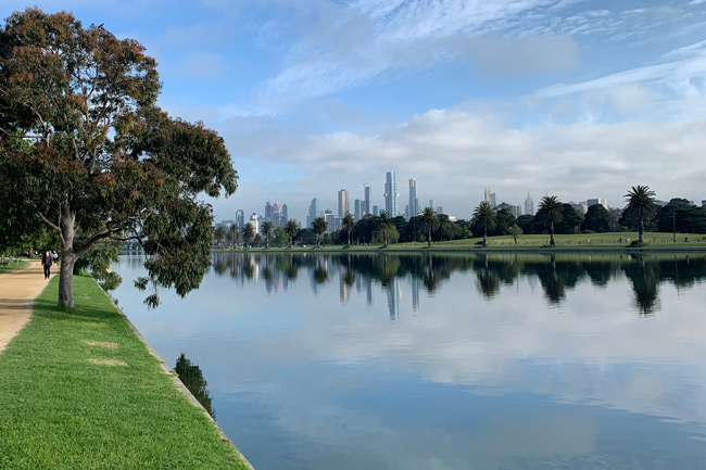 Albert park lake with Melbourne in the background