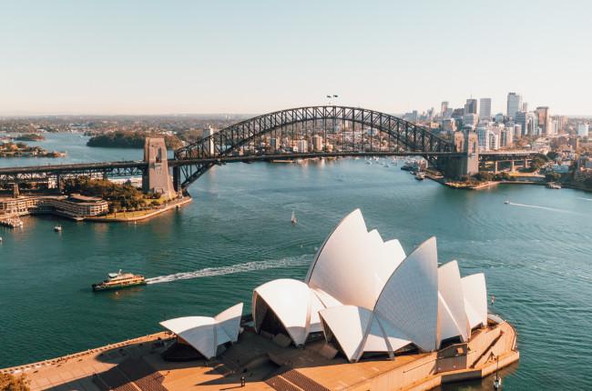 view of the sydney harbour bridge & opera house
