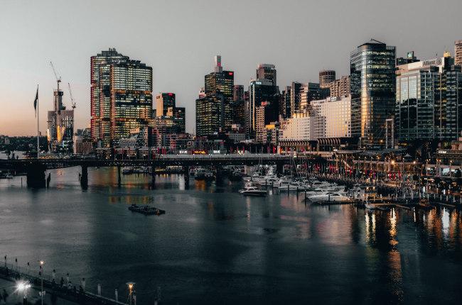 the view of Sydney CBD at night