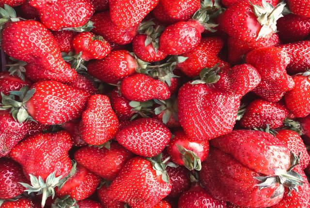 fresh, red, juicy strawberries