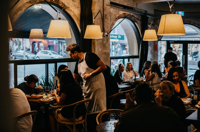 a restaurant dining on delicious Greek food